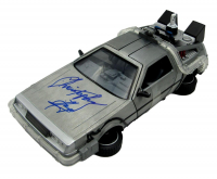 """Christopher Lloyd Signed """"Back to the Future II"""" DeLorian Time Machine 1:24 Scale Die-Cast Car (JSA COA) at PristineAuction.com"""