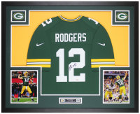 Aaron Rodgers Signed Packers 35x43 Custom Framed Jersey Display (Fanatics Hologram) at PristineAuction.com