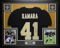 Alvin Kamara Signed 35x43 Custom Framed Jersey Display (JSA COA) at PristineAuction.com