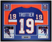 "Bryan Trottier Signed 35x43 Custom Framed Jersey Display Inscribed ""HOF 99"" (JSA COA) at PristineAuction.com"