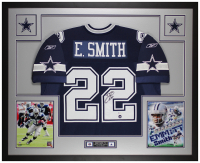 Emmitt Smith Signed Cowboys 35x43 Custom Framed Jersey Display (Beckett COA & Prova Hologram) at PristineAuction.com
