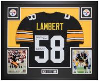 "Jack Lambert Signed 35x43 Custom Framed Jersey Display Inscribed ""HOF 90"" & ""4x SB Champs!"" (JSA COA) at PristineAuction.com"