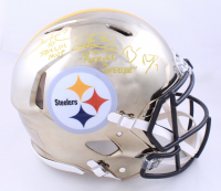 Ben Roethlisberger, Hines Ward, & Santonio Holmes Signed Steelers Full-Size Authentic On-Field Speed Helmet with Multiple Inscriptions (Beckett LOA) (See Description) at PristineAuction.com