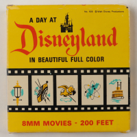 """Vintage Walt Disney's """"A Day At Disneyland In Beautiful Full Color"""" 8mm Film Reel with Original Packaging at PristineAuction.com"""