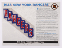 Official NHL 1928 New York Rangers Patch Card with 9x12 Scorecard at PristineAuction.com