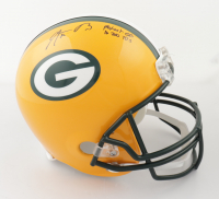 """Aaron Rodgers Signed Packers Full-Size Helmet Inscribed """"Fastest QB to 300 TD's"""" (Steiner Hologram) at PristineAuction.com"""