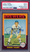 """Robin Yount Signed 1975 Topps #223 RC Inscribed """"HOF 99"""" (PSA 5) at PristineAuction.com"""