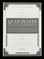 2017 Panini National Treasures Quad Player Materials Booklet #1 Aaron Judge / Cody Bellinger / Dansby Swanson / Yoan Moncada #22/99 at PristineAuction.com