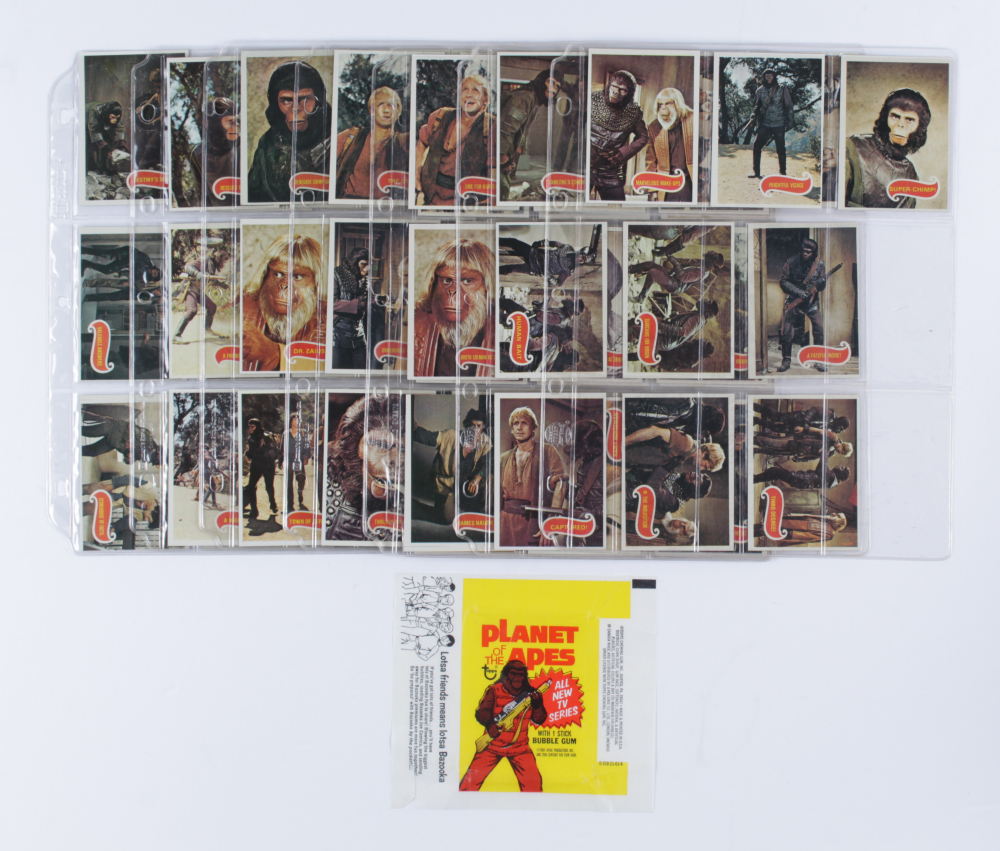 Complete Set of (66) 1975 Topps Planet of the Apes Trading Cards with Wrapper at PristineAuction.com