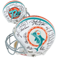 1972 Dolphins Full-Size Authentic On-Field Helmet Team-Signed by (40) with Bob Griese, Larry Csonka, Manny Fernandez, Mercury Morris, Larry Little, Dick Anderson (Fanatics Hologram) at PristineAuction.com