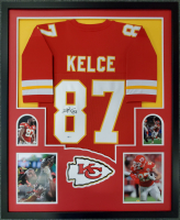 Travis Kelce Signed 34x42 Custom Framed Jersey Display (Beckett COA) at PristineAuction.com