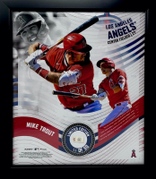 Mike Trout LE Angels 15x17 Custom Framed Game Used Baseball Swatch With Collage Photo Display (Fanatics Hologram & MLB Hologram) at PristineAuction.com