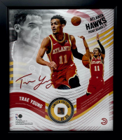 Trae Young LE Hawks 15x17 Custom Framed Game-Used Basketball Piece With Collage Photo Display (Fanatics Hologram) at PristineAuction.com