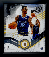 Ja Morant LE Grizzlies 15x17 Custom Framed Game-Used Basketball Piece With Collage Photo Display (Fanatics Hologram) at PristineAuction.com