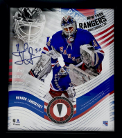 Henrik Lundqvist LE Rangers 15x17 Custom Framed Game-Used Puck Piece With Collage Photo Display (Fanatics Hologram) at PristineAuction.com