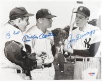 Mickey Mantle, Joe DiMaggio, Yogi Berra Signed Yankees 8x10 Photo (PSA LOA) (See Description) at PristineAuction.com