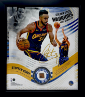 Stephen Curry LE Warriors 15x17 Custom Framed Game-Used Basketball Piece With Collage Photo Display (Fanatics Hologram) at PristineAuction.com