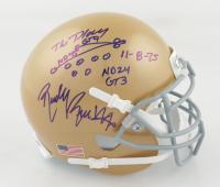 Rudy Ruettiger Signed Notre Dame Fighting Irish Mini-Helmet with Hand-Drawn Play Sketch (Beckett COA & Ruettiger Hologram) at PristineAuction.com