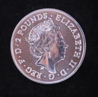 "2021 Great Britain Commemorative ""David Bowie"" 1 Oz. .999 Fine Silver 2 Pound Coin at PristineAuction.com"
