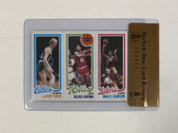 1980-81 Topps #6 Larry Bird RC / Julius Erving TL / Magic Johnson RC (Beckett Raw Card Review 8) at PristineAuction.com