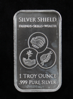 1 Troy Oz .999 Fine Silver Silver Shield Duality Bullion Bar at PristineAuction.com