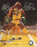 Magic Johnson & Larry Bird Signed 8x10 Photo (PSA COA) at PristineAuction.com