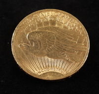 1908 $20 Twenty-Dollar Saint-Gaudens Double Eagle Gold Coin With Motto at PristineAuction.com