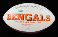 Tee Higgins & Joe Burrow Signed Bengals Logo Football (JSA COA & Fanatics Hologram) at PristineAuction.com