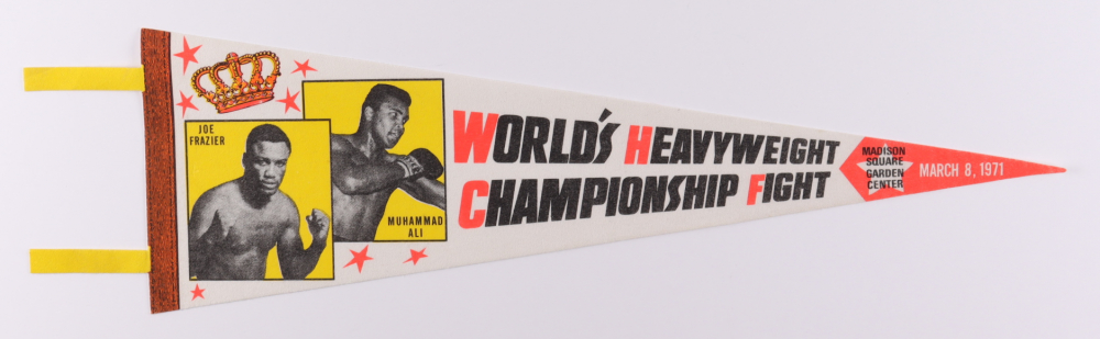 1971 Muhammad Ali Vs. Joe Frazier Fight Pennant at PristineAuction.com
