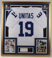 Johnny Unitas Signed 32.75x36.75 Custom Framed Cut Display with Super Bowl V Champions Pin (PSA Hologram) at PristineAuction.com