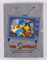 """Matt Groening Signed """"The Simpsons """" The Complete First Season DVD Cover with Hand Drawn Sketch Inscribed """"Y'ello"""" & """"2008""""  (Beckett LOA) at PristineAuction.com"""