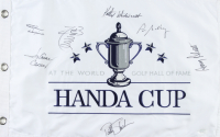Handa Cup 13.5x21 Pin Flag Signed by (7) Including Kathy Whitworth, Amy Alcott, Joanne Carner, Patty Sheehan (JSA COA) at PristineAuction.com