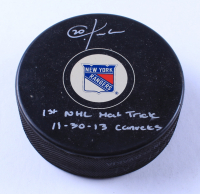 "Chris Kreider Signed Rangers Logo Hockey Puck Inscribed ""1st NHL Hart Trick 11-30-13 Canucks"" (Kreider COA & JSA COA) at PristineAuction.com"