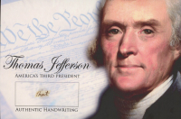 Thomas Jefferson 4x6 Photo With Authentic Hand-Written Word Cut (JSA LOA) at PristineAuction.com