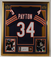 Walter Payton Signed 33x37 Custom Framed Cut Display with Jersey & Original 1985 Super Bowl Pin (PSA Encapsulated) at PristineAuction.com