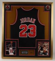 Michael Jordan 32x37 Custom Framed Jersey Display with Air Jordan Pin at PristineAuction.com