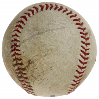 """Mike Trout Signed Game-Used OML Baseball Inscribed """"Single vs A's"""" (MLB Hologram) at PristineAuction.com"""