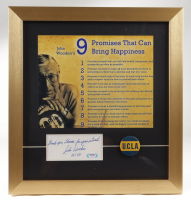 """John Wooden 15x16 Framed """"9 Keys to Happiness"""" Print With Signed Cut and Vintage UCLA Basketball Pin (PSA COA) (See Description) at PristineAuction.com"""