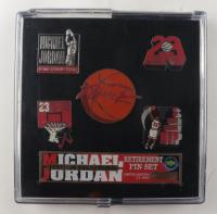 Michael Jordan Set of (6) LE Vintage Upper Deck Retirement Pins at PristineAuction.com