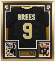 Drew Brees 32x37 Custom Framed Jersey Display with Super Bowl XLIV Champions Pin at PristineAuction.com