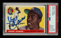 Hank Aaron Signed 1955 Topps #47 (PSA 5) (MC) at PristineAuction.com