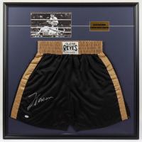 Julio Cesar Chavez Signed 33x33 Custom Framed Boxing Trunks Display (PSA COA) (See Description) at PristineAuction.com