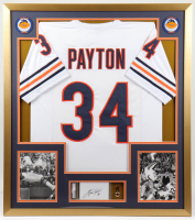 Walter Payton Signed 33x37 Custom Framed Cut Display with Jersey & Pin (PSA Encapsulated) at PristineAuction.com