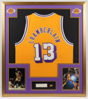 Wilt Chamberlain Signed Lakers 34x38 Custom Framed Cut Display with Lakers Pin (PSA LOA) (See Description) at PristineAuction.com