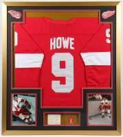 """Gordie Howe Signed Red Wings 32x36 Custom Framed Cut Display with Jersey & Jersey Retirement Pin Inscribed """"Kindest Regards"""" (PSA COA) at PristineAuction.com"""