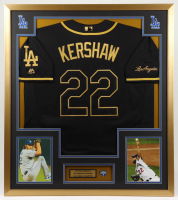 Clayton Kershaw 33x37 Custom Framed Dodgers Jersey Display With 2020 World Series Pin at PristineAuction.com