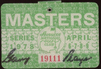Gary Player Signed 1978 Masters Tournament Golf Badge at PristineAuction.com