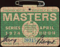 Gary Player Signed 1974 Masters Tournament Golf Badge at PristineAuction.com
