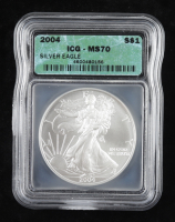 2004 American Silver Eagle $1 One Dollar Coin (ICG MS70) at PristineAuction.com