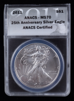 2011 American Silver Eagle $1 One Dollar Coin - Black Eagle Label (ANACS MS70) at PristineAuction.com